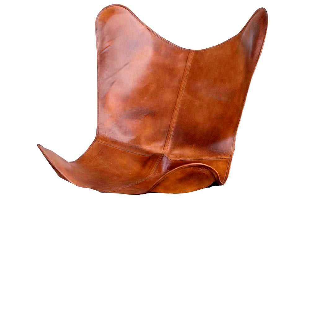 SR Leather Living Room Chairs Cover-Butterfly Chair Brown Cover-Handmade Genuine Leather Cover Only Cover