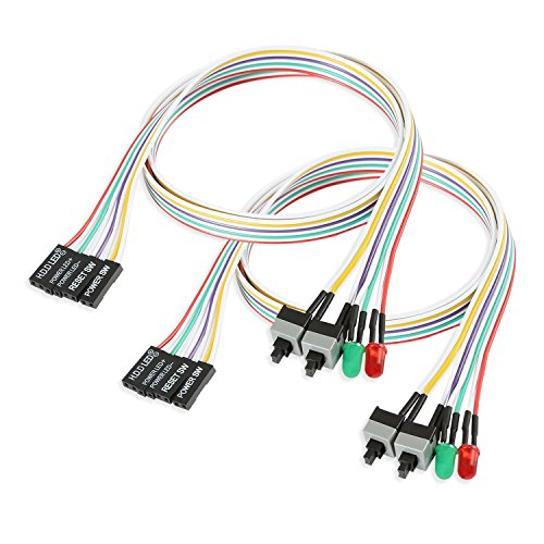 Electop 2 Pack ATX Power Supply Switch Cable,27 inch LED Light HDD Cable for PC Computer Motherboard, Reset Re-Starting On and Off Switch Wire