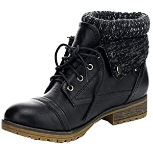 REFRESH WYNNE-01 Women's combat style lace up ankle bootie , Black , 7