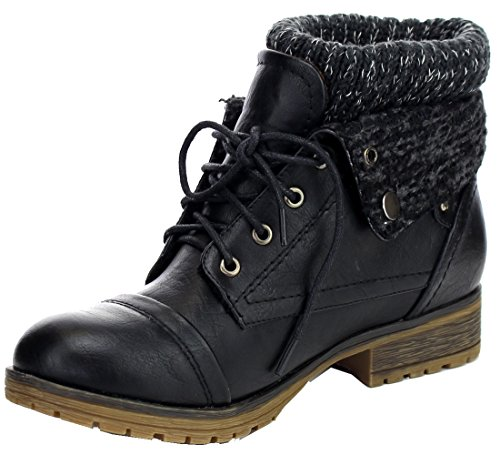 REFRESH WYNNE-01 Womens Combat Style Lace Up Ankle Bootie Black 8.5