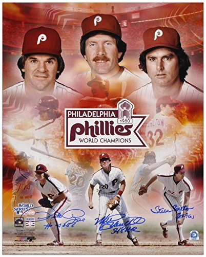 Pete Rose, Steve Carlton and Mike Schmidt Philadelphia Phillies 1980 World Series Autographed 16