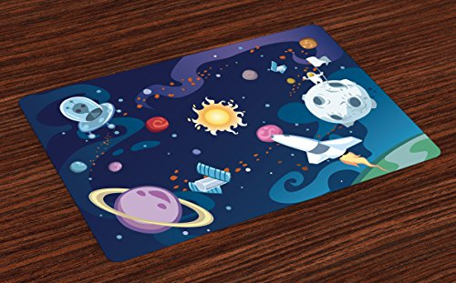 Lunarable Outer Space Place Mats Set of 4, Galaxy Scenery Space Mission with Sun Milky Way Nebula Pluto Mars Rocks Image, Washable Fabric Placemats for Dining Room Kitchen Table Decor, Multicolor ()