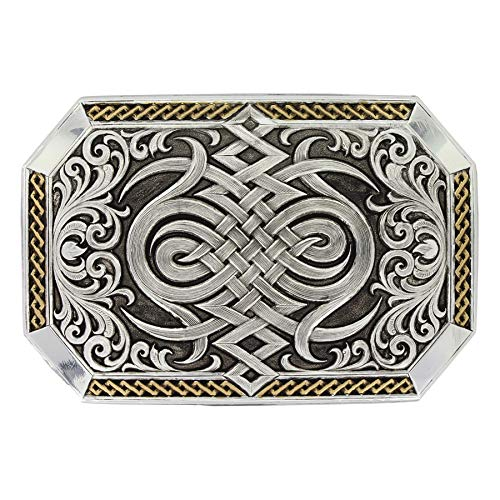 - Montana Silversmiths Silver and Gold Antiqued Two Tone Western Celtic Knot Belt Buckle, 3.75