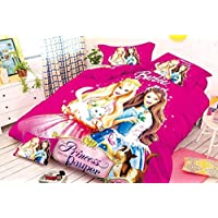 SinghsVillas Decor 100% Cotton Barbie Bedsheet with Pillow Cover-Single