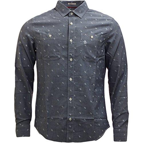 Original Penguin Men's Paisley Shirt Long Sleeve Tear Drop Design Medium Blue