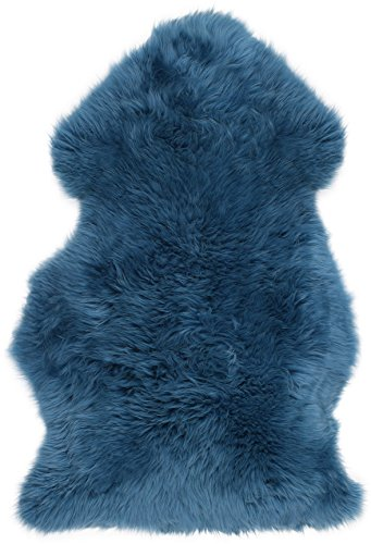 Super Soft Large Real Genuine Sheepskin Rug in Mid Blue by Lambland - Size 100cm x...