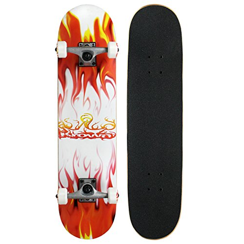 Krown Rookie Complete Skateboard,Red/White Flame (Skateboard Red Complete)