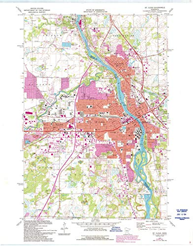 YellowMaps St Cloud MN topo map, 1:24000 Scale, 7.5 X 7.5 Minute, Historical, 1974, Updated 1993, 27.23 x 21.53 in - -