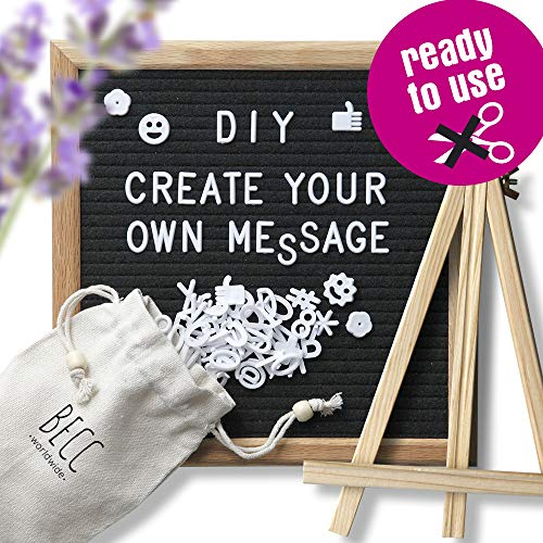 Felt Letter Board -2019 Edition- with PRECUT Letters, Emojis, Icons and Symbols Quality Oak Frame 10 x 10 Inch Changeable Message Board, Wall Mount, Free Canvas Bag, Tripod Stand, NO Scissors Needed! -