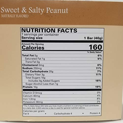 Nutmeg State Nutrition High Protein Snack Bar Diet Bars – Sweet Salty Peanut 7ct – Trans Fat Free, Aspartame Free, Kosher, Appetite Suppressant