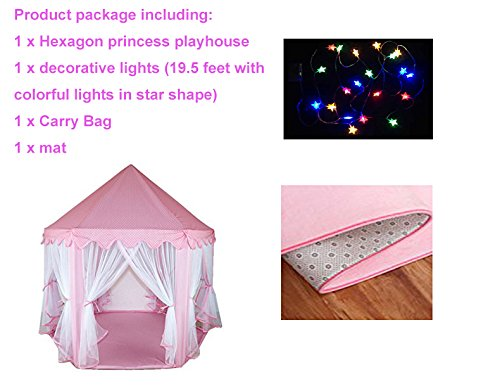 Do4u Large Indoor And Outdoor Kids Play House Pink Hexagon Princess Castle Kids Play Tent With Hexagonal Coral Rug And Lights 55 X 53  Dxh   Pink Tent Light Mats