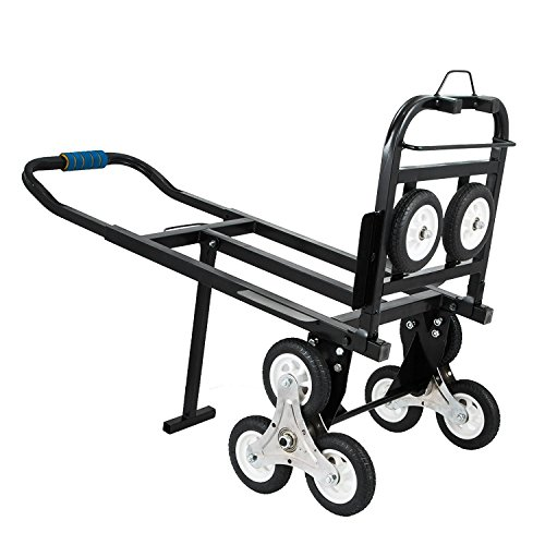 Z-bond Stair Climbing Cart 45 Inches Portable Hand Truck 2x Three-wheel Hand Truck Stair Climber 330LB Capacity Folding Stair Hand Truck Heavy Duty with 2 Backup Wheels by Z-bond