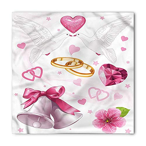 Wedding Bandana, Wedding Themed Artwork Invitation Announcement Hearts Rings Birds Happiness,39.339.3inch (Paisley Wedding Invitations)