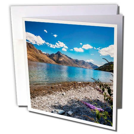 3dRose DanielaPhotography - Landscape, Nature - Beautiful View of Lake Wakatipu from The Shore with Purple Flowers. - 1 Greeting Card with Envelope (gc_281978_5)