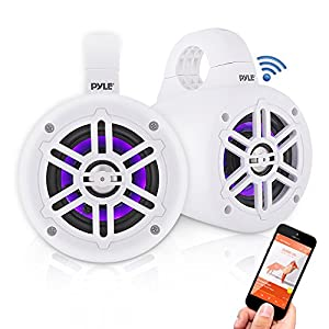 Waterproof Marine Wakeboard Tower Speakers - 4 Inch Dual Subwoofer Speaker Set w/300 Max Power Output - Boat Audio System w/Built-in LED Lights - Mounting Clamps Included - Pyle PLMRLEWB46W (White)