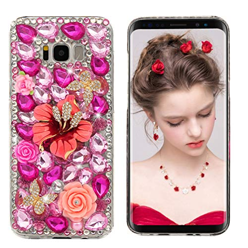 S8 Plus Case,Samsung Galaxy S8 Plus Case 3D Handmade Bling Colorful Diamonds Champagne Flower Butterfly Shiny Sparkle Rhinestone Gems Crystal Clear Full Body Protection Hard PC Cover by Maviss Diary