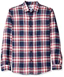 Amazon Essentials Men's Slim-Fit Long-Sleeve Plaid Flannel Shirt, Red/White/Blue, Large