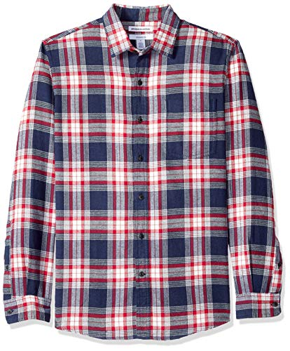 (Amazon Essentials Men's Slim-Fit Long-Sleeve Plaid Flannel Shirt, Red/White/Blue,)
