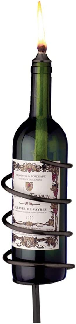 Oenophilia Afterglow Garden Stake Wine Bottle Wick Candle Holder - Black