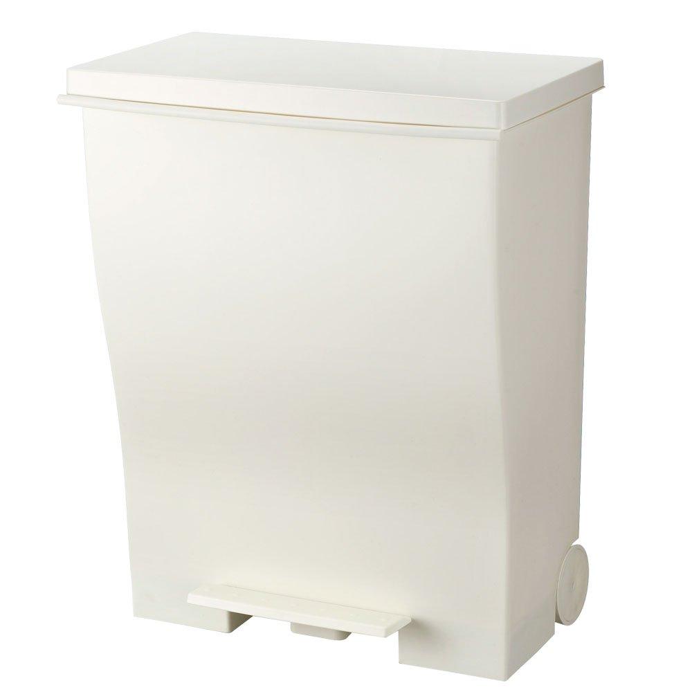 日本製 ダストボックス ふた付き ワイド ゴミ箱 ペダル式 トラッシュボックス くずかご ホワイト B015DZNLMA