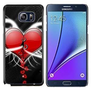 All Phone Most Case / Oferta Especial Duro Teléfono Inteligente PC Cáscara Funda Cubierta de proteccion Caso / Hard Case Samsung Galaxy Note5 5th N9200 // Heart Red Stiched Valentine Art Drawing Love