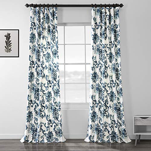Half Price Drapes PRTW-D40-96 Indonesian Printed Cotton Twill Curtain, Blue (Price Half Rugs)