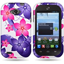 CoverON Pink Purple Hibiscus Flower Hard Slim Case for ZTE Savvy - with Cover Removal Pry Tool