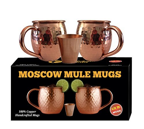 Whalehead Moscow Mule Copper Mugs - 100% Pure, Heavy Gauge, Solid Copper Mugs (1/2 lbs each) - Handcrafted, Stylish & Authentic Copper Moscow Mule Mugs with Hammered Finish - Set of 2, 16 Oz Volume ()