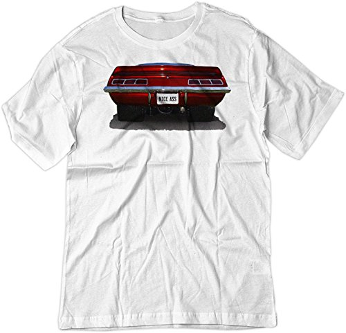 amaro SS Classic Car Muscle Hot Rod Shirt MED White (Camaro White Muscle Car T-shirt)