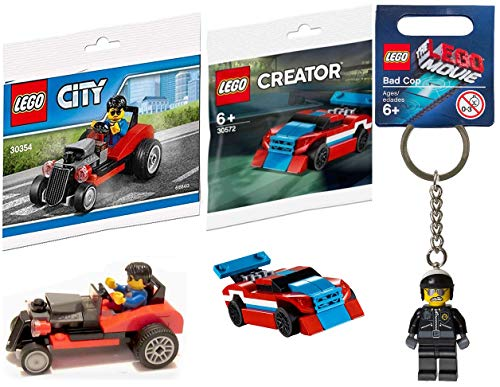 (LEGO Double Micro Car Block Set Red Race Creator Figure Building Kit Bundled with + Bad Cop Movie Keychain Hanger Character + City Road Hot Rod Minifigure Driver Toy)