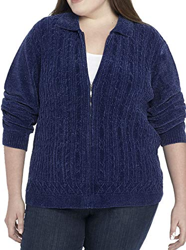Alfred Dunner Plus Size Classic Chenille Cardigan (Saphire, 2X) ()