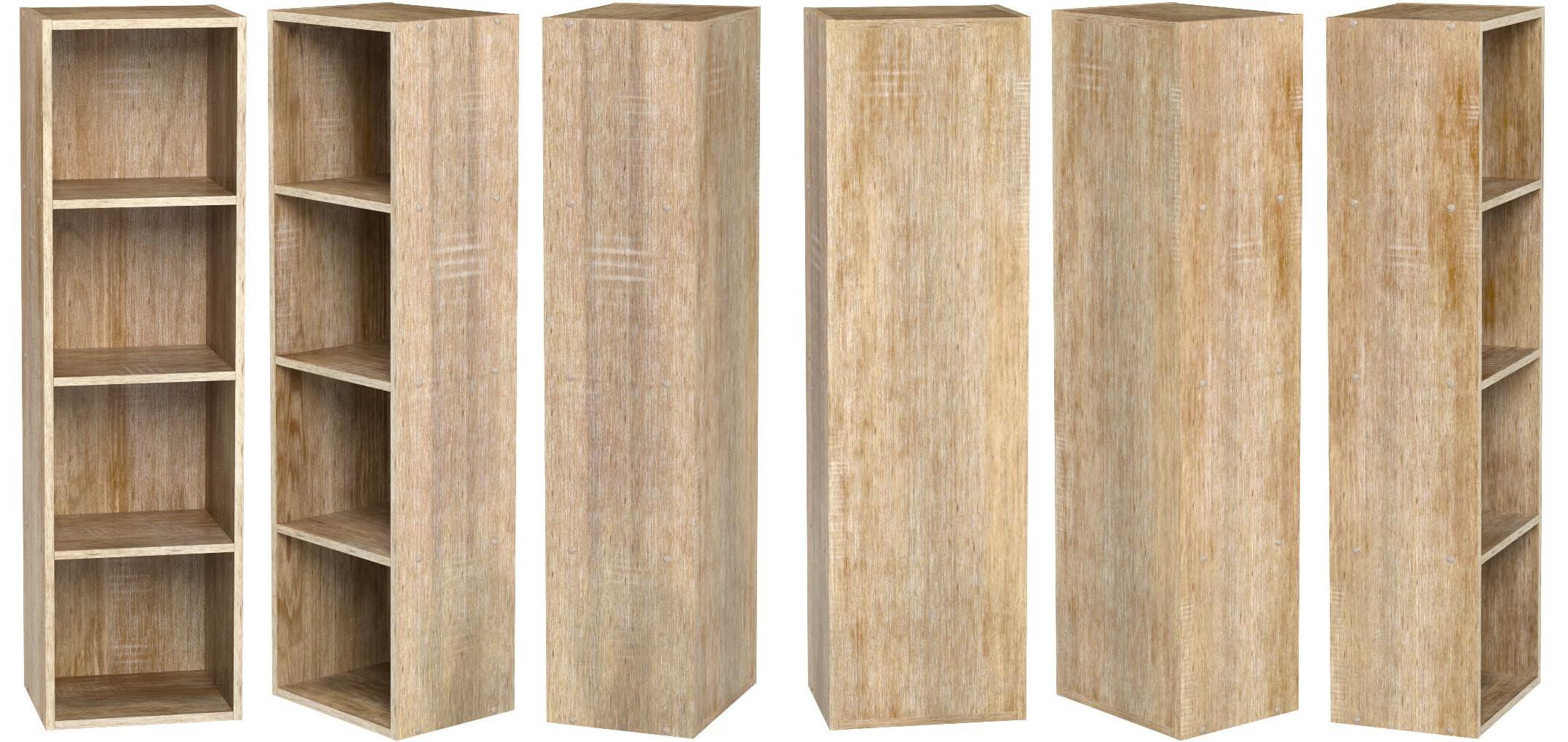 Estante de madera, varios modelos con 1, 2, 3 o 4 compartimentos, Antique Oak, 4 niveles