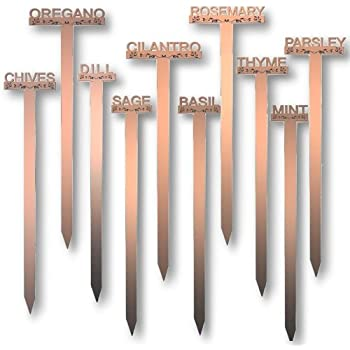 Superior Laser Cut Raised Letter Weatherproof Acrylic Herb Plant Garden Stakes USA  11in High Br Copper