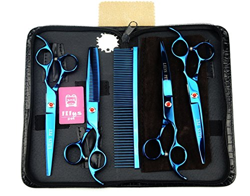 LILYS PET Professional PET DOG Grooming Coated Titanium scissors suit Cutting&Curved&Thinning shears (8.0 inches, Blue)