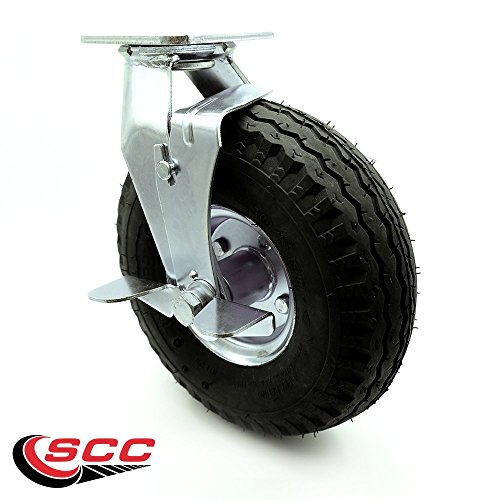"""10"""" Pneumatic Swivel Caster with Brake - Black Rubber Wheel - 350 lbs. Capacity - Service Caster Brand from Service Caster"""