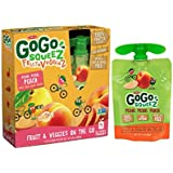 GoGo SqueeZ Fruit & VeggieZ on the Go, Apple Peach Sweet...