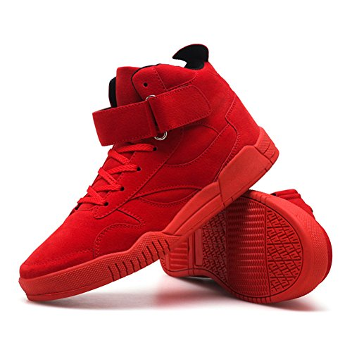 Leader show TM Mens Autumn & Winter Casual Fashion Sneakers High Top Breathable Athletic Ankle Sports Shoes #1106 Black-red jjwh4Xj