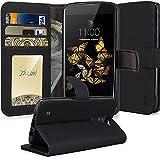 LG Phoenix 2 Case, LG Escape 3 Case, LG K8 Case, TAURI [Stand Feature] Wallet Leather Case [Card Slot] Flip Cover Protective Case For LG Phoenix 2 / LG Escape 3 / LG K8 - Black