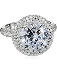 S Silver, Cubic Zirconia 11mm Round CZ Ring, 5.00 ct. Center, 6.30 ct. tw.