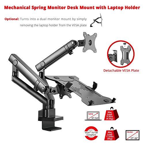 Siig CE-MT2V12-S1 Aluminum Mechanical Spring Slim Monitor Arm with Laptop Holder