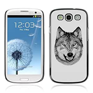 YOYOSHOP [Laughing Wolf Cool Funny B/W] Samsung Galaxy S3 Case by lolosakes