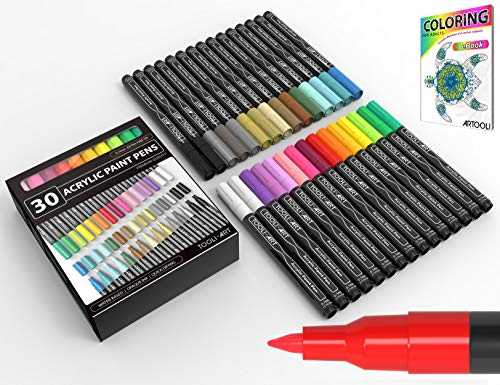 Acrylic Paint Pens 30 Assorted Markers Set 0.7mm Extra Fine Tip for Rock, Glass, Mugs, Porcelain, Wood, Metal, Fabric, Canvas, DIY Projects, Detailing. Non Toxic, Waterbased, Quick Drying. (Best Markers For Canvas)