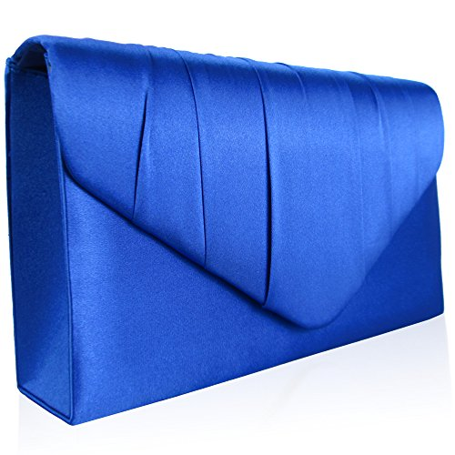 Prom Satin Cobalt Clutch UK Pleated New Ladies Blue Envelope Women Party Bridal Evening Bags Zarla qft8xwFUU