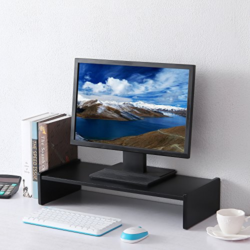 RFIVER Black Wooden Computer Monitor Stand ,Multi Media Desktop Stand ,1 shelf 21.7 x 9.4 inch  CM1003