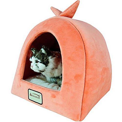 Armarkat Plush And Soft Velvet W/ Waterproof Cat Sleeper Bed In Orange And Ivory by Armarkat