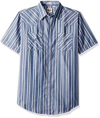 Ely & Walker Men's Size Short Sleeve Stripe Western Shirt, Blue, Large Tall (Stripe Western Shirt Tall)