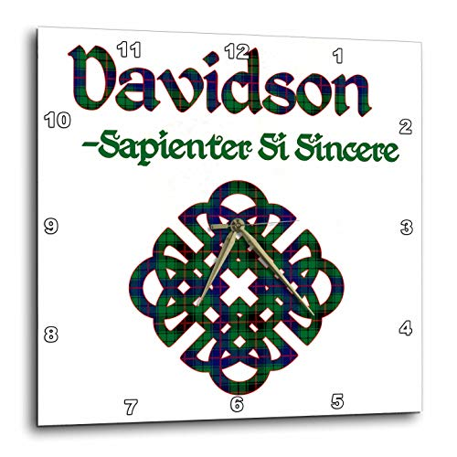 - 3dRose Macdonald Creative Studios - Celtic - Celtic Knot in The Tartan Colors for Davidson Clan and Family Motto - 15x15 Wall Clock (DPP_318241_3)