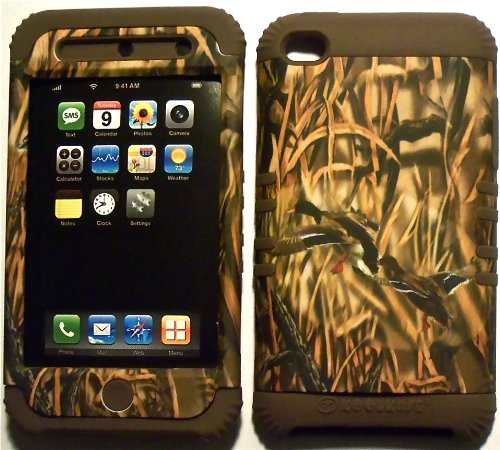 Camo Ducks on Brown Silicone Skin for Apple ipod Touch iTouch 4G 4 Hybrid 2 in 1 Rubber Cover Hard Case (Ipod 4g Case Camo)