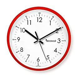 Decowall DSH-M22R 8.8 Non-ticking Silent Modern Pastel Wall Clock DIY for Living Room Bedrooms Office Kitchens (Red, 22.5cm)