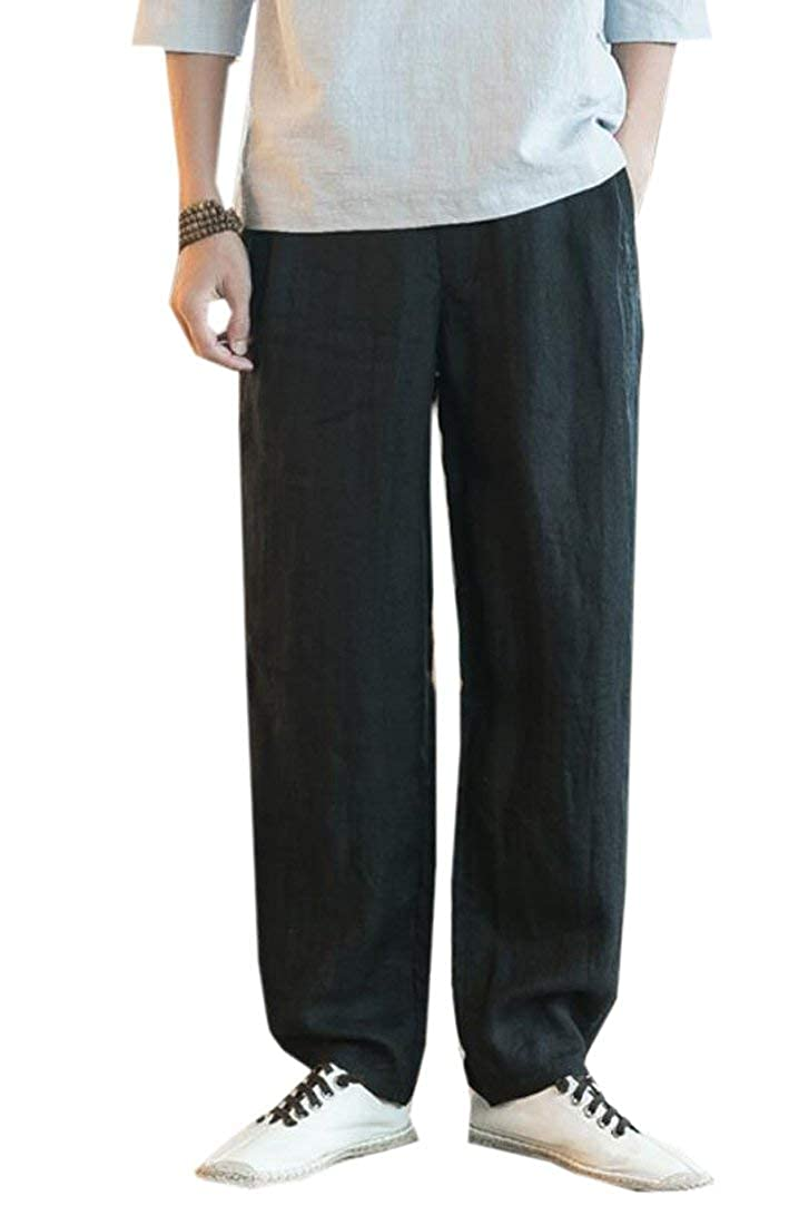 MK988 Mens Solid Cotton Linen Chinese Style Straight Leg Casual Long Pants Trousers